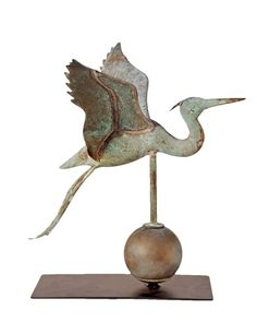 Rare Flying Heron Weathervane in excellent verdigris c. 1930