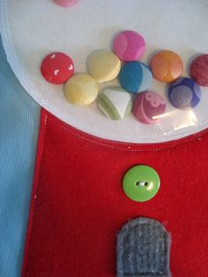 covered buttons as bubble gum in a quiet book. No directions, just pic.