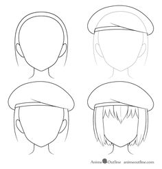 How to Draw Anime Hats & Head Ware - AnimeOutline , Anime Drawings Sketches, Pencil Art Drawings, Cool Art Drawings, Anime Sketch, Easy Drawings, Drawing Anime Bodies, Drawing Anime Clothes, Anime Character Drawing, Body Drawing Tutorial
