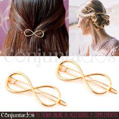 El #Pasador de #pelo Infinity es un bonito y útil accesorio para las amantes de los cambios de peinado. Para rematar un moño, separar el flequillo a un lado... Viene en pack de 2 unidades. También lo tenemos en plateado ★ Precio: 4,95 € en http://www.conjuntados.com/es/para-tu-pelo/pasadores-y-horquillas/pasador-dorado-de-pelo-infinity-pack-2-unidades.html ★ #novedades #horquillas #infinito #gold #complementos #paratupelo #clip #cliphar #hair #ForYourHair #casual #love #GustosParaTodas