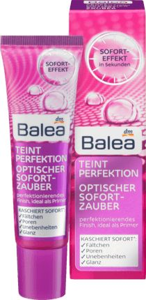 Der Balea Teint Perfektion Optischer Sofort-Zauber kaschiert optisch* in wenigen Sekunden Hautunebenheiten, Fältchen, Glanz und Poren direkt nach dem Auftr...