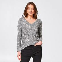 Lily Loves V-Neck Jumper - Black/White Marle – Target Australia New Look, That Look, Jumper, Target, Size 10, Lily, Australia, V Neck, Pullover