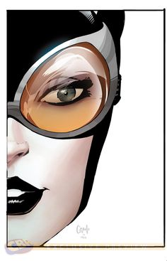 Catwoman, by Greg Capullo. Capullo rose to the challenge laid down by DC Comics to draw Batman and his major allies in profile while maintaining their personalities.