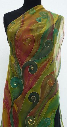 Green Brown silk scarf Handpainted Chiffon pure silk by Irisit Fabric Paint Shirt, Headband Wrap, Pressed Flower Art, Silk Art, Textiles, Fabric Painting, Green And Brown, Swirls, Wearable Art