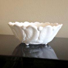 Vintage Milk Glass Wedding Bowl Indiana Glass by MidwestMilkGlass,