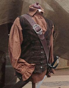 KOSTÜMTRUHE | Verkauf & Versandhandel, mittelalterliche Kleidung, Kostüme & Gewandungen, Zubehör aus Ritterzeit und Piratentum - bürgerliche Lederweste braun