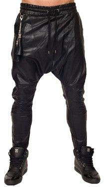 This attractive pant has a uniquely stitched design with a complete drawstring waist and leather detailed.