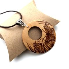 Beautiful Butterflies Wooden Pyrography Pendant Necklace £15.95