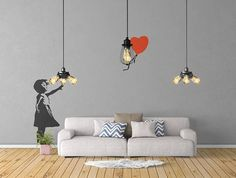 The Girl who lost a balloon - Wall Decal Sticker Banksy Style | Urban art | Artist graffiti stencil urban walls wallart spray | Wall Art by BrutalVisual    7.50 EUR  In this decal an innocent girl is reaching for a red heart-shaped balloon that is just beyond her grasp. What is the meaning of this piece? Well this image stimulated plenty of interest and discussion in the art world soon after it was discovered and many different interpretations and meanings have arisen from this work as with…