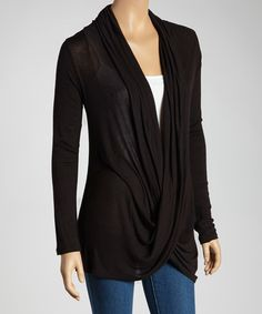 Look at this #zulilyfind! Black Crisscross Drape Top #zulilyfinds