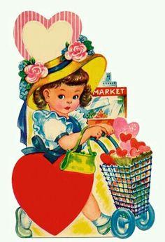 Vintage Valentine girl w/shopping cart.