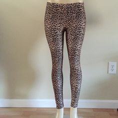 """💵2 for$18💵. Leopard leggings One size fits most.  Medium weight; not see through.  100% Polyester but feel like cotton.  Inseam is 27"""" flat/ without stretching.  Waist accommodates 27-33"""".  Leopard print.  Lowest price listed.  NWOT. Pants Leggings"""