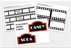 free printable labels for party Movie Theater Party, Movie Night Party, Party Time, Backyard Movie Nights, Outdoor Movie Nights, Hollywood Theme, Movie Themes, Sleepover Party, Family Night