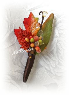 Mens Wedding Boutonniere, Fall wedding, chocolate brown, persimmon, burnt orange and green boutonniere