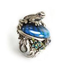 Vintage Inspired Rings By Ollipop - Silver And Blue Frog Ring - Unique Vintage - Cocktail, Evening  Pinup Dresses