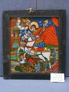 Gheorghe ucigand Balaurul_oglinda - Icons painted on glass. Saint George And The Dragon, Orthodox Icons, Sculpting, Folk, Religion, Angels, Teaching Resources, Glass, Spirit
