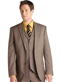Suits & Suit Separates - English Laundry Tan Check Vested Suit - Men's Wearhouse