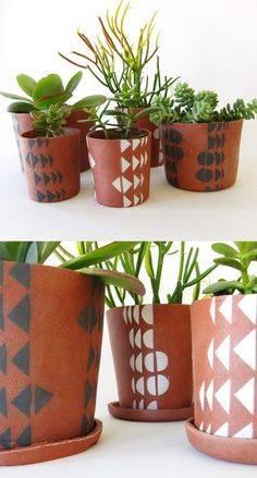 Geometric terracotta planters - DIY idea. Using neon or bright colors would be fun.