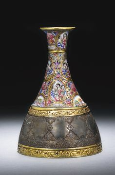 A large Qajar polychrome enamelled gold and silver ghalian section, Persia, Celtic Dragon, Celtic Art, Islamic Art Calligraphy, Calligraphy Alphabet, King Of Persia, Teheran, Old Jewelry, Jewellery, Persian Culture