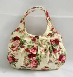 Canvas Bag with Bow Shabby Chic Rose Design ♥ by ladieslounge1