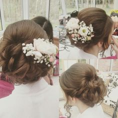 Fresh flowers in a soft messy updo. Bridal Hair By Laura Hughes in Norwich. www.laurahugheshair.co.uk