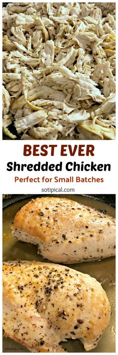 How to make Easy Shredded Chicken on your stovetop. Best part is that its not dry or chewy like crockpot chicken. Great for small batches or when cooking for - So TIPical Me Shredded Chicken Sandwiches, Easy Shredded Chicken, Pulled Chicken, Chicken Tacos, Boneless Skinless Chicken, Rotisserie Chicken, Pasta With Alfredo Sauce, Chicken Caesar Salad, Chicken Seasoning