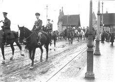 General Sir Arthur Currie and Staff crossing the Rhine at Bonn. December, 1918.