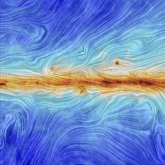 The structure of the Milky Way's magnetic field, as measured by the European Space Agency's Planck satellite.