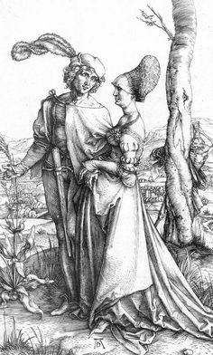 DÜRER, Albrecht Young Couple Threatened by Death; or, the Promenade c. 1498 Engraving, 196 x 121 mm Staatliche Kunsthalle, Karlsruhe
