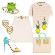 """Limoncello"" by glamheartcafe ❤ liked on Polyvore featuring Gucci, Allurez, Miu Miu, Christian Louboutin, Sophie Hulme, Mondevio and Elizabeth Cole"