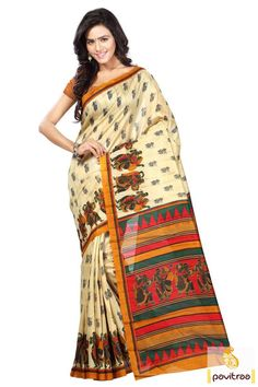 Relive the amazing of the old world with this fashionable #beige #bhagalpuri #printed #saree that make you a conversation-starter. Choose your style and dress like the angel you are.