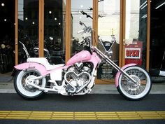 I know it's not a Harley, but I love this pink Honda motorcycle with the multiple chrome hearts. Biker Chick, Biker Girl, Lady Biker, Custom Motorcycles, Custom Bikes, Honda Motorcycles, Moto Logo, Motos Retro, Pink Motorcycle
