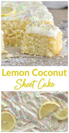 Lemon Coconut Sheet Cake The wonderful synergy of coconut and lemon in a spongy, flavorful and easy-to-make Sheet Cake. Covered with the much-loved lemon cream cheese frosting, it is a perfect everyday cake. Sheet Cake Recipes, Cupcake Recipes, Cupcake Cakes, Dessert Recipes, Poke Cakes, Layer Cakes, Easy Lemon Sheet Cake Recipe, Easy Lemon Cake, Coconut Cake Easy