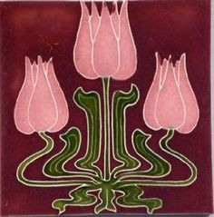 Art Tile, Art Nouveau Tulips, Pink and Green on Red