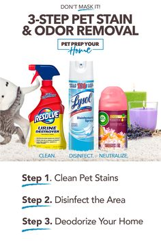 Pet Prep Your Home with Pet Stain & Odor Removal Natural Cleaning Recipes, Natural Cleaning Products, Cleaning Solutions, Cleaning Hacks, Animal Nutrition, Pet Nutrition, Diy Carpet, Carpet Ideas, Disinfectant Spray
