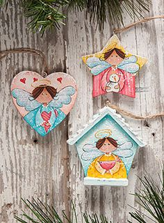 Deb's Angels by Deb Antonick. Exclusive Free Downloadable Painting Instruction packet and resin ornaments available at www.ArtistsClub.com