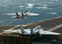 Today in Aviation History: 1989 – US Navy Tomcats shoot down two Libyan MiGs - SOFREP (press release) (subscription) Military Jets, Military Aircraft, Military Weapons, Fighter Aircraft, Fighter Jets, Tomcat F14, Uss Enterprise Cvn 65, Flight Deck, Jet Plane