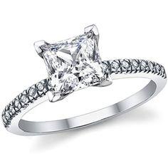 "Asha - ""Catalina"" Princess Cut // $800 // 1.5ct Eco-Friendly Center-Stone, .18ct Natural Diamond Side-Stones, 14k Gold."
