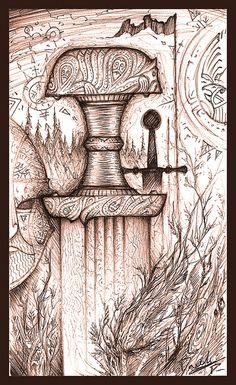 Kalevala Finnish Sword by Cedarlore Forge, via Flickr Poikia ja miksipä ei tyttöjäkin voisi innostaa tarkkaan piirtämiseen ja tussien käyttöön oman kalevalaisen aseen suunnittelu. Sword Hilt, Witch Queen, Viking Sword, Sword Design, Concept Weapons, Norse Mythology, Glyphs, Blacksmithing, Finland