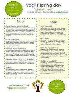Yogi's Spring Tip Sheet http://yogahealer.com/ayurveda-for-spring-cheat-sheet/
