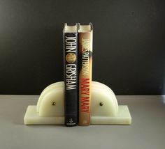Polished White Marble Art Deco Bookends // PAIR // from Successionary, $99.00