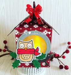 Christmas LED birdhouse ornament with the milk carton die and winter owl - Maria Russell