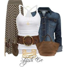 Fall style: Maxi skirt, tank, jean jacket