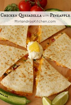 Quesadilla with Pineapple This simple chicken quesadilla takes on a wonderful flavor from pineapple, and other fun additions that make this a delicious, memorable meal.Wonderful Life Wonderful Life may refer to: Mexican Dishes, Mexican Food Recipes, Dinner Recipes, Drink Recipes, Snack Recipes, Turkey Recipes, Chicken Recipes, Wraps, Chicken Quesadillas