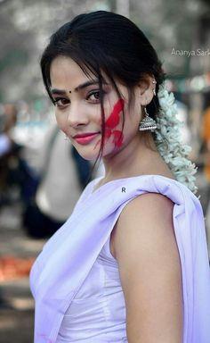Holi Special, Anupama Parameswaran, New Face, Indian Beauty, Saree, Glamour, Photo And Video, Beautiful, Color
