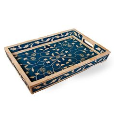 Indian Bone Inlaid Tray, Blue - Sheherazade $250