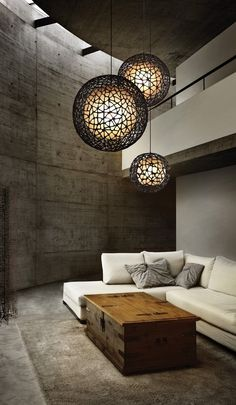 Learn To Decorate In A Creative Rustic Lighting Ideas It can be a complicated process for some people to tackle a project of home interior design. Living Room Lighting, Home Lighting, Living Room Decor, Lighting Ideas, Pendant Lighting, Hanging Lights Living Room, Dining Room, Ceiling Lighting, Interior Lighting