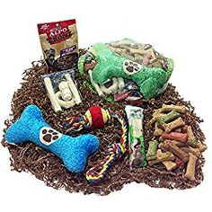 Deluxe Mothers Day Dog Gift Basket of Biscuits, Chewy Dog Treats, Denta-Bone, Rawhide Bones, Squeaky Plush Toy & Rope Ball Toy
