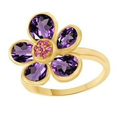 Round & Pear Cut Amethyst & Pink Sapphire Flower Cocktail Ring 14K Yellow Gold # With Free Stud Earrings by JewelryHub on Opensky