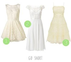 High street wedding dresses for the budget bride! :) Short dresses